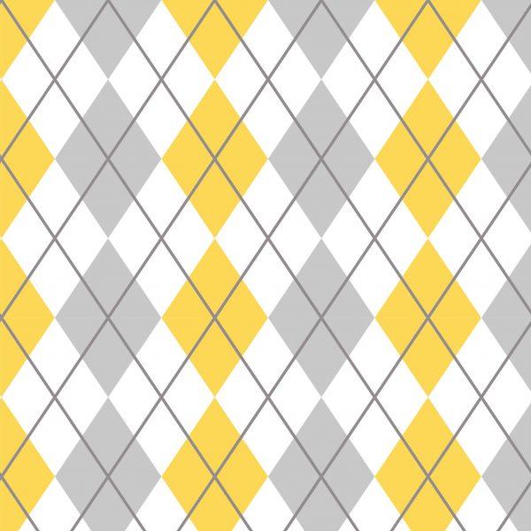 Papel de Parede Adesivo Xadrez Amarelo e Cinza