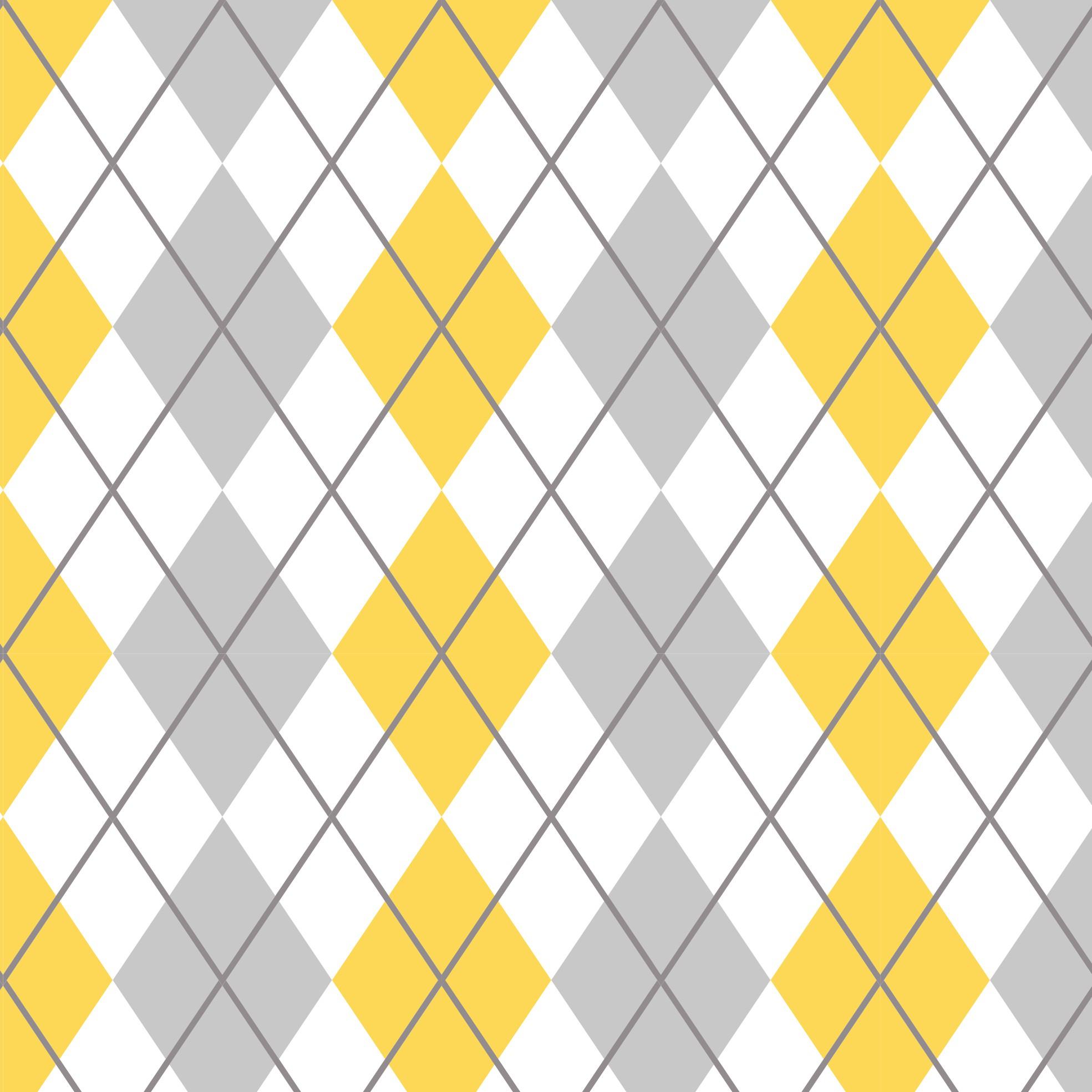Aparador Branco Para Quarto De Bebe ~ Papel de Parede Adesivo Xadrez Amarelo e Cinza EuColo