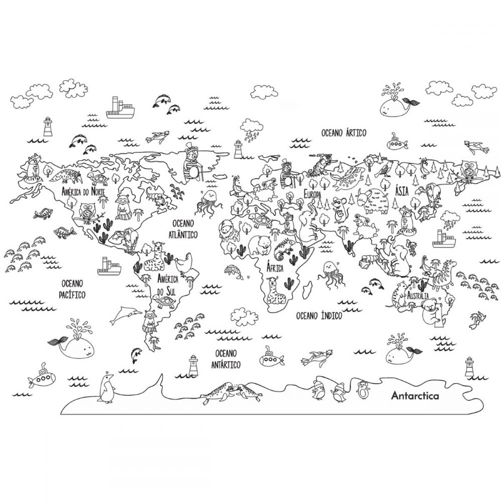 Painel Fotográfico Mapa Mundi Infantil Animais Contorno