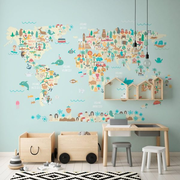 Painel Fotográfico Mapa Mundi Infantil Azul Animais