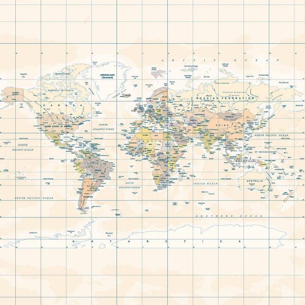 Painel Fotográfico Mapa Mundi Vintage Bege