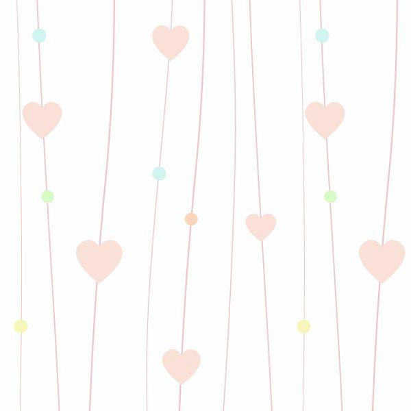 Papel de Parede Adesivo Infantil Corações Candy